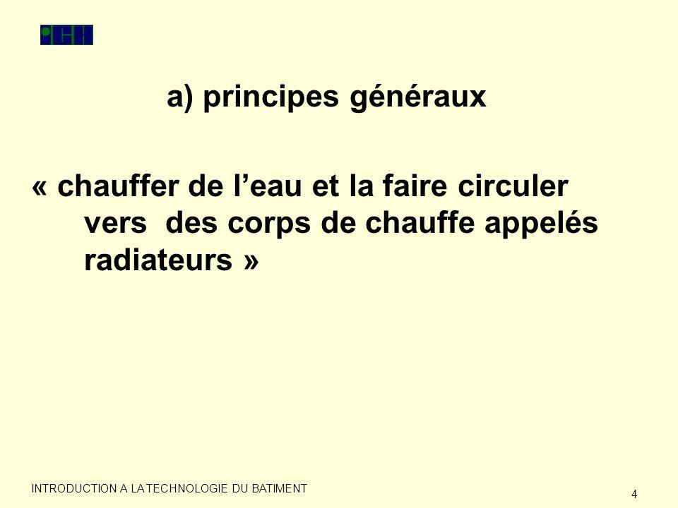 a) principes généraux « chauffer de l'eau et la faire circuler vers des corps de chauffe appelés radiateurs »