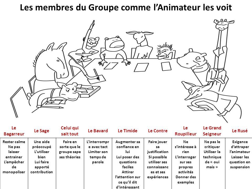 Les membres du Groupe comme l'Animateur les voit