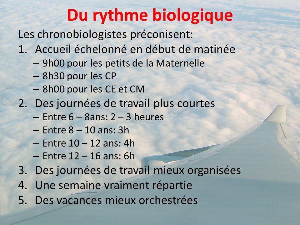 Du rythme biologique Les chronobiologistes préconisent: