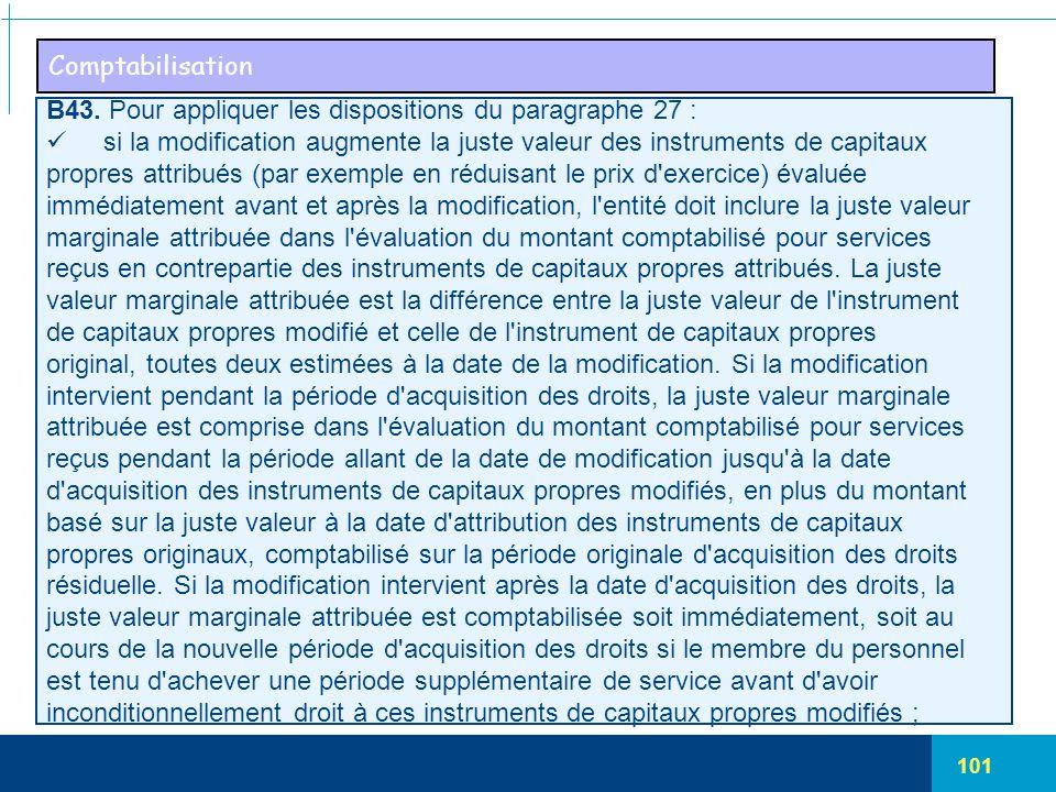 Comptabilisation B43. Pour appliquer les dispositions du paragraphe 27 : si la modification augmente la juste valeur des instruments de capitaux.