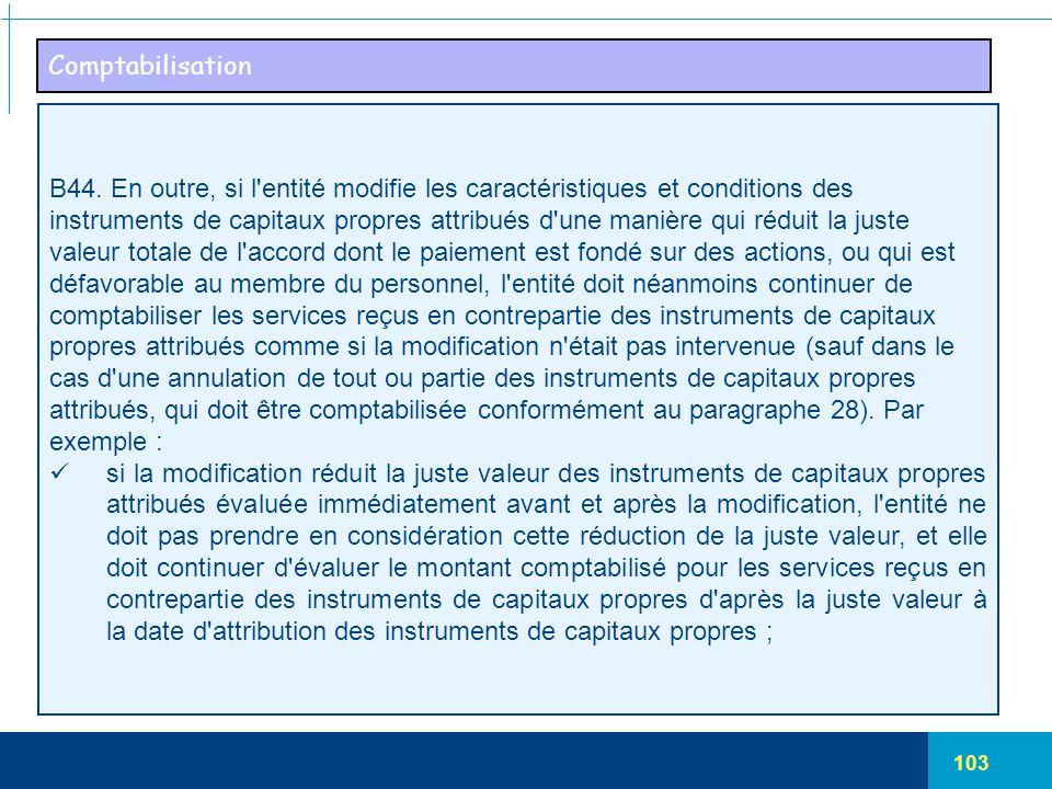 Comptabilisation B44. En outre, si l entité modifie les caractéristiques et conditions des.