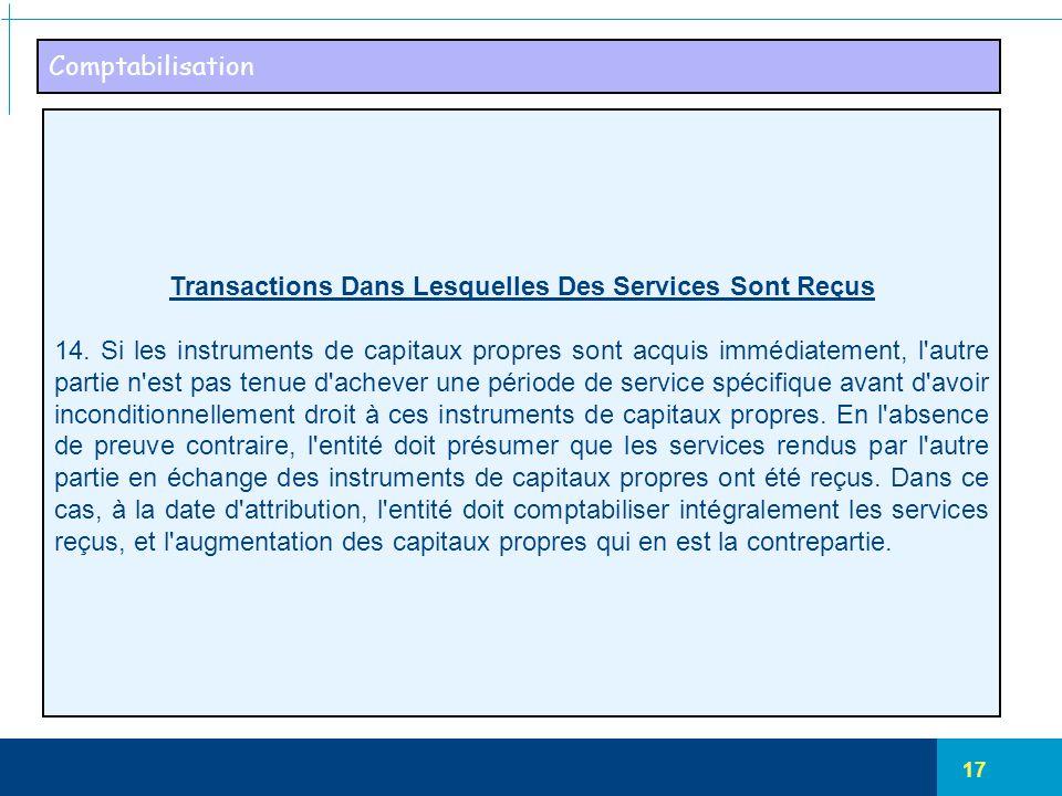 Transactions Dans Lesquelles Des Services Sont Reçus
