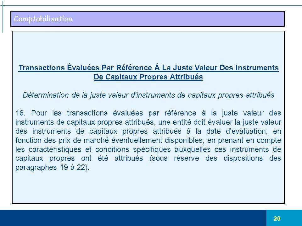 Comptabilisation Transactions Évaluées Par Référence À La Juste Valeur Des Instruments De Capitaux Propres Attribués.