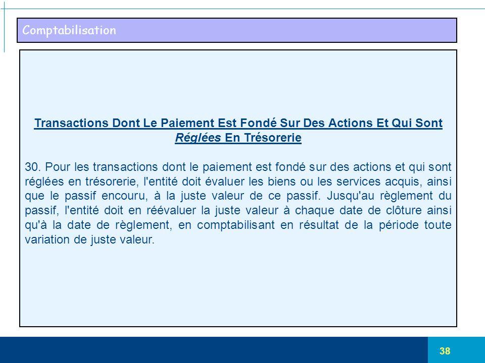 Comptabilisation Transactions Dont Le Paiement Est Fondé Sur Des Actions Et Qui Sont Réglées En Trésorerie.