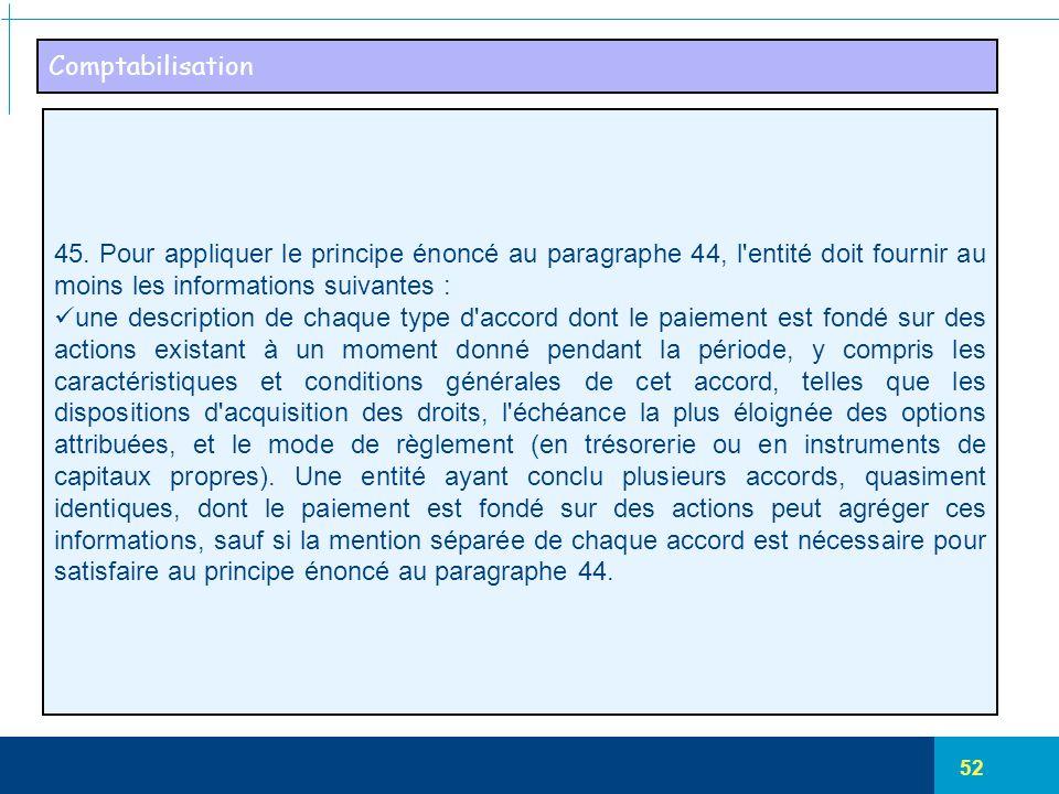 Comptabilisation 45. Pour appliquer le principe énoncé au paragraphe 44, l entité doit fournir au moins les informations suivantes :
