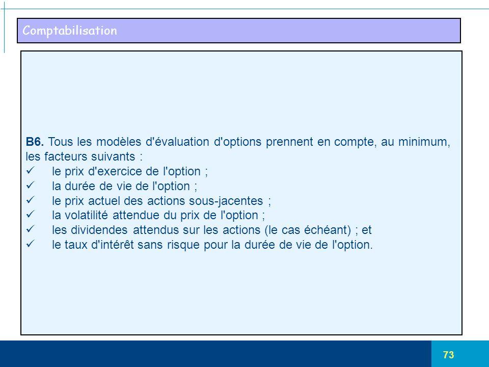 Comptabilisation B6. Tous les modèles d évaluation d options prennent en compte, au minimum, les facteurs suivants :