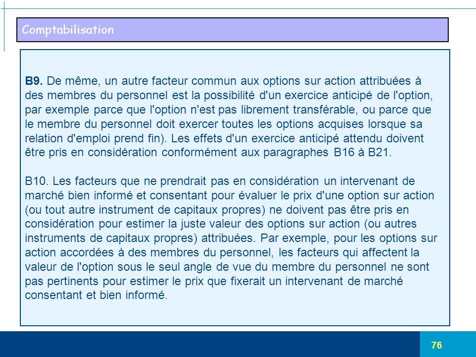 Comptabilisation B9. De même, un autre facteur commun aux options sur action attribuées à.