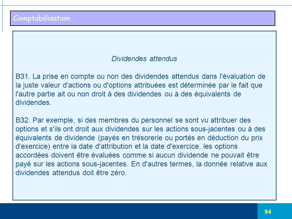 Comptabilisation Dividendes attendus. B31. La prise en compte ou non des dividendes attendus dans l évaluation de.