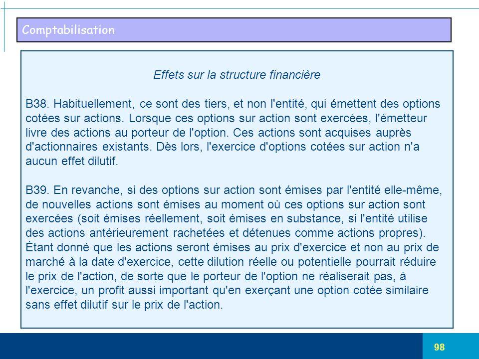 Effets sur la structure financière