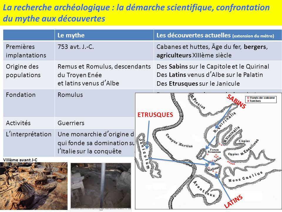 La recherche archéologique : la démarche scientifique, confrontation du mythe aux découvertes