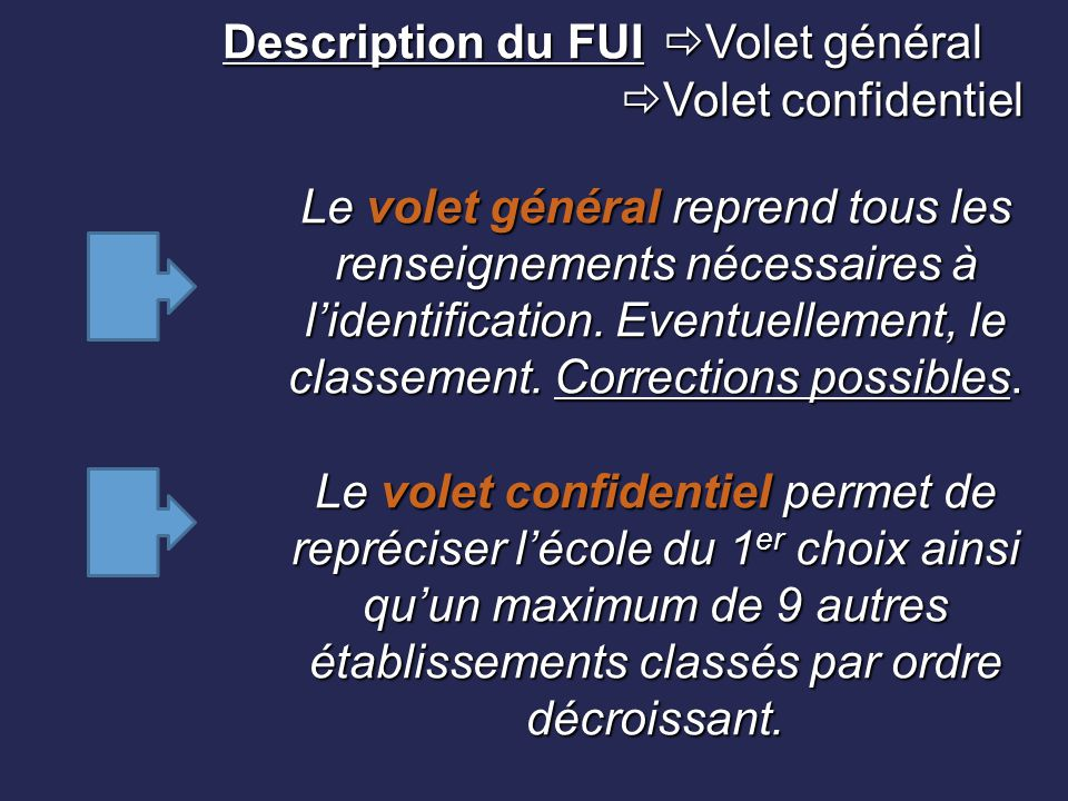 Description du FUI. Volet général. Volet confidentiel