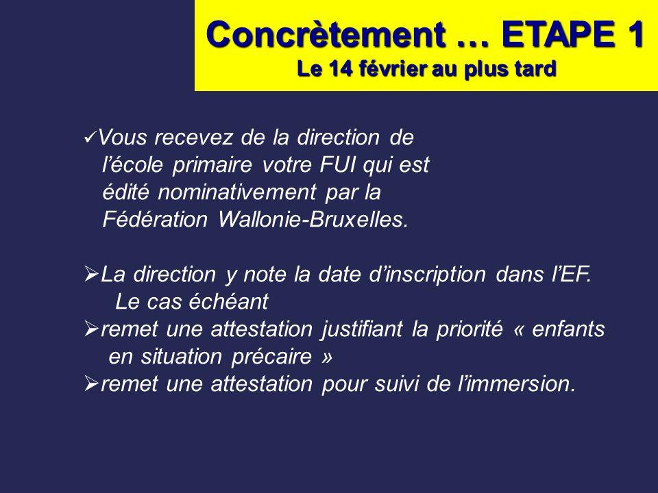 Concrètement … ETAPE 1 Le 14 février au plus tard