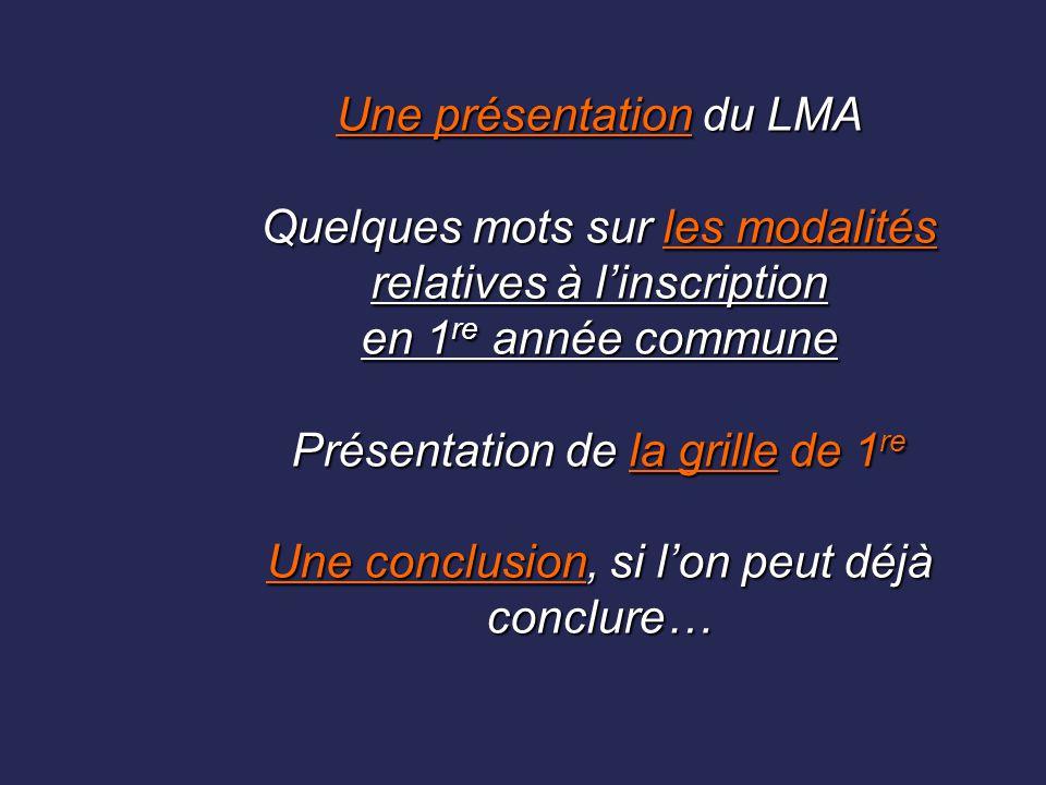 Une présentation du LMA Quelques mots sur les modalités relatives à l'inscription en 1re année commune Présentation de la grille de 1re Une conclusion, si l'on peut déjà conclure…