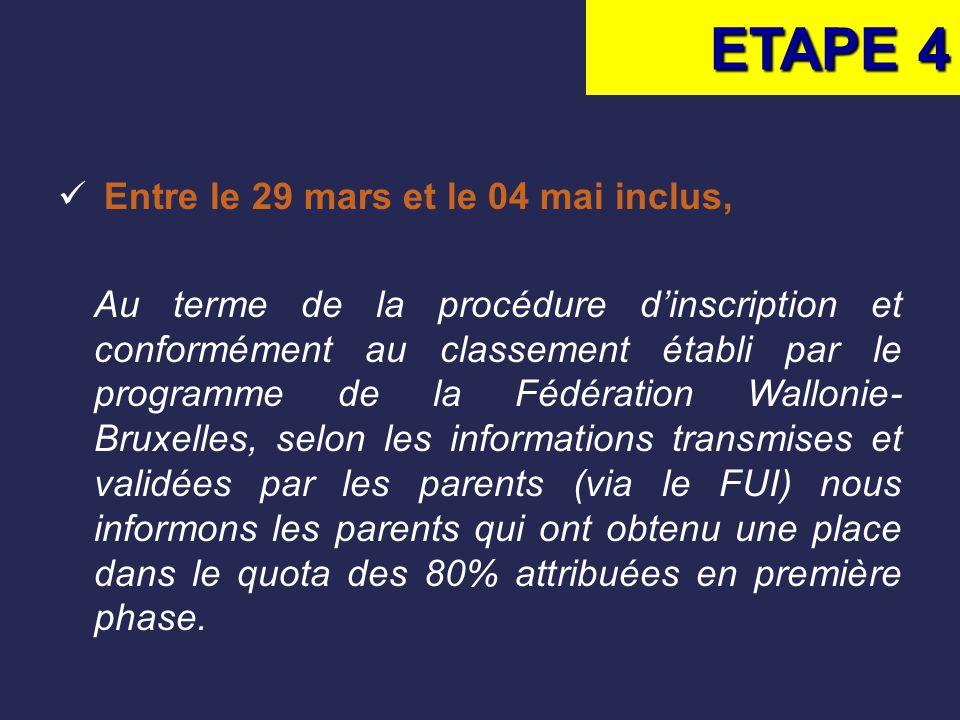 ETAPE 4 Entre le 29 mars et le 04 mai inclus,