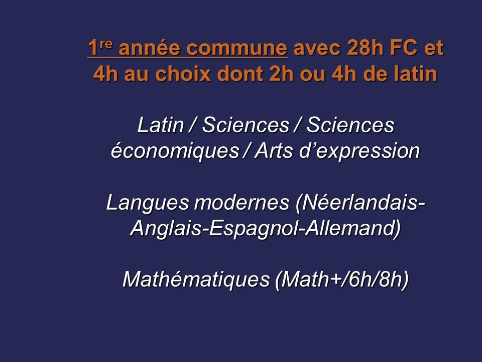 1re année commune avec 28h FC et 4h au choix dont 2h ou 4h de latin Latin / Sciences / Sciences économiques / Arts d'expression Langues modernes (Néerlandais-Anglais-Espagnol-Allemand) Mathématiques (Math+/6h/8h)