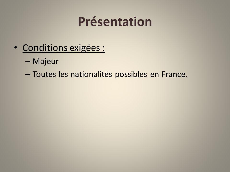 Présentation Conditions exigées : Majeur