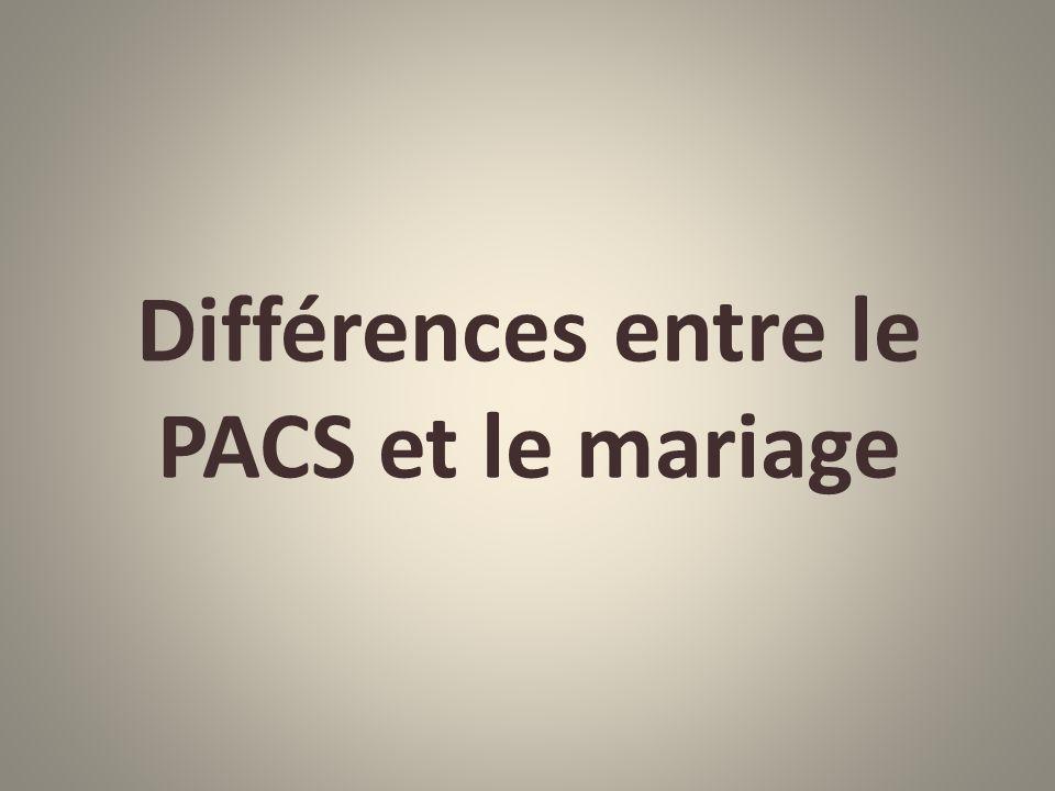 Différences entre le PACS et le mariage