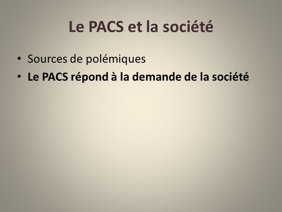 Le PACS et la société Sources de polémiques