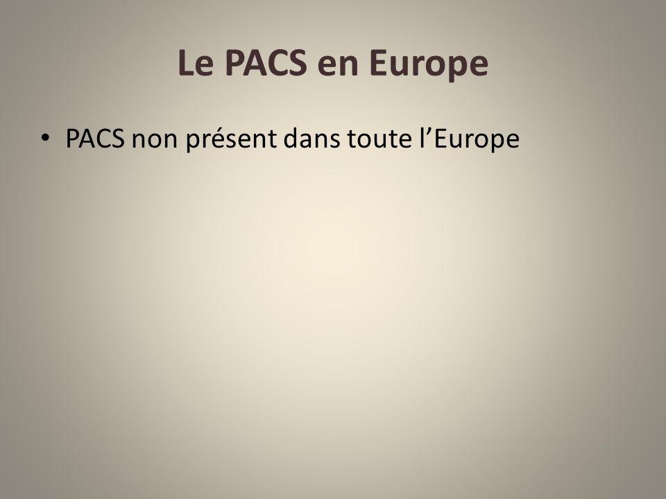 Le PACS en Europe PACS non présent dans toute l'Europe