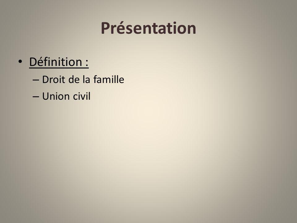 Présentation Définition : Droit de la famille Union civil