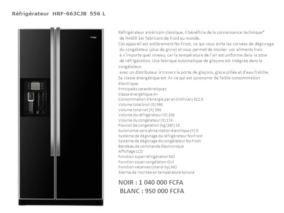 Réfrigérateur HRF-663CJB 556 L