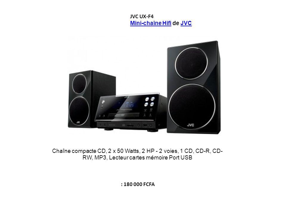 JVC UX-F4 Mini-chaîne Hifi de JVC. Chaîne compacte CD, 2 x 50 Watts, 2 HP - 2 voies, 1 CD, CD-R, CD-RW, MP3, Lecteur cartes mémoire Port USB.