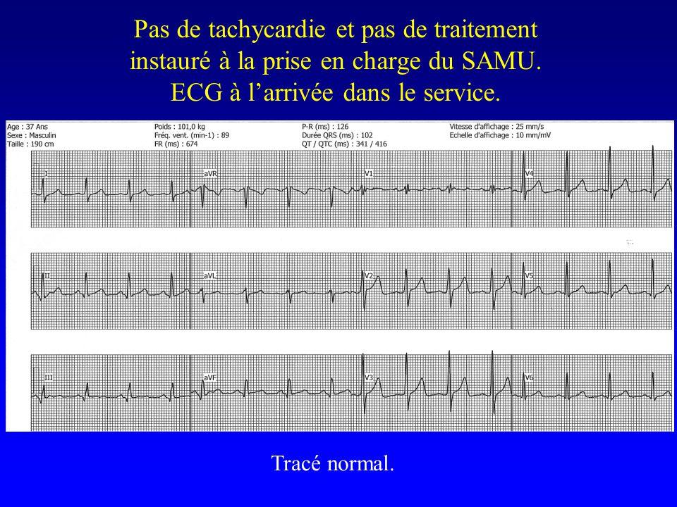 Pas de tachycardie et pas de traitement instauré à la prise en charge du SAMU. ECG à l'arrivée dans le service.