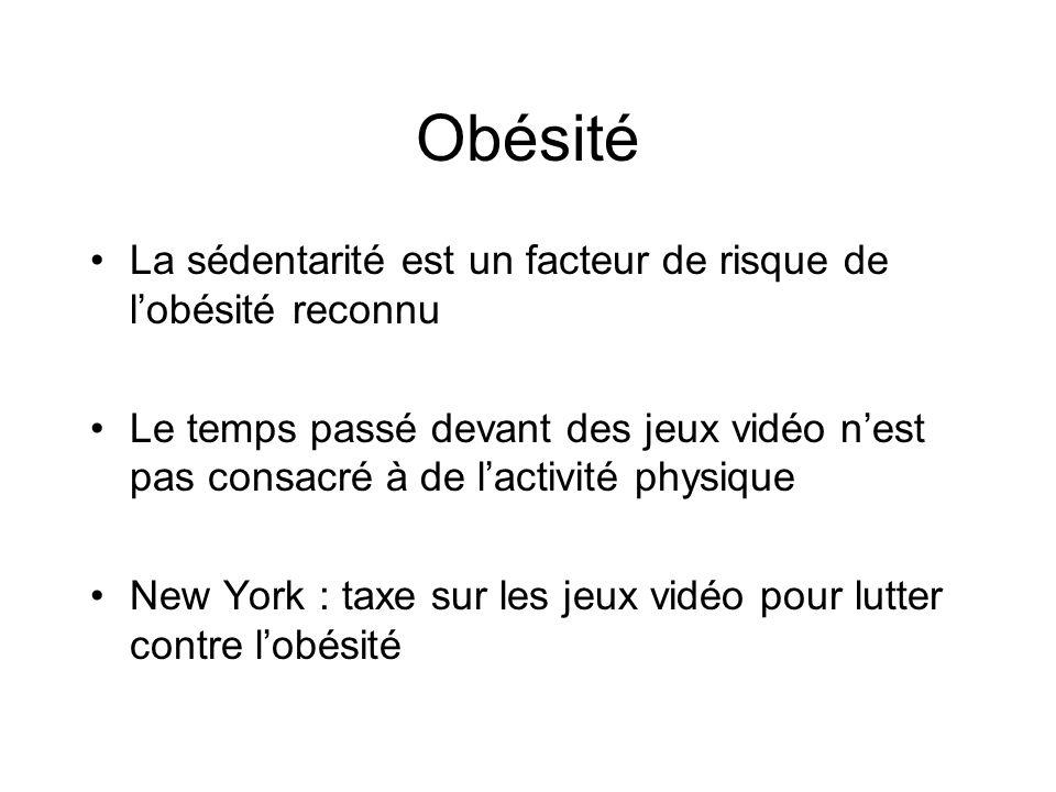 Obésité La sédentarité est un facteur de risque de l'obésité reconnu