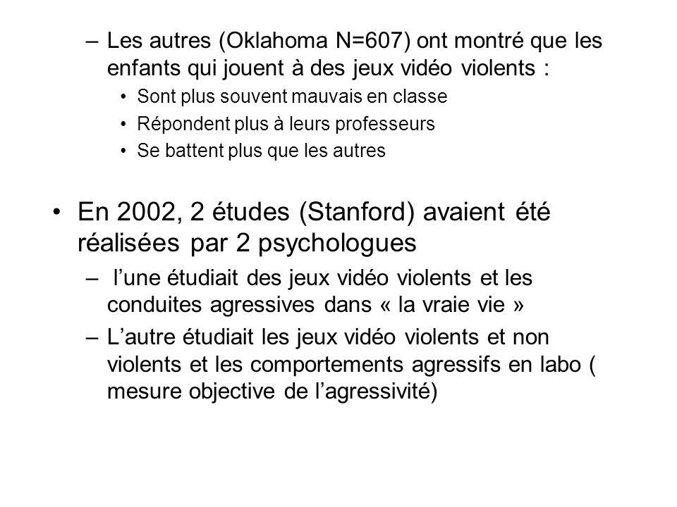 En 2002, 2 études (Stanford) avaient été réalisées par 2 psychologues
