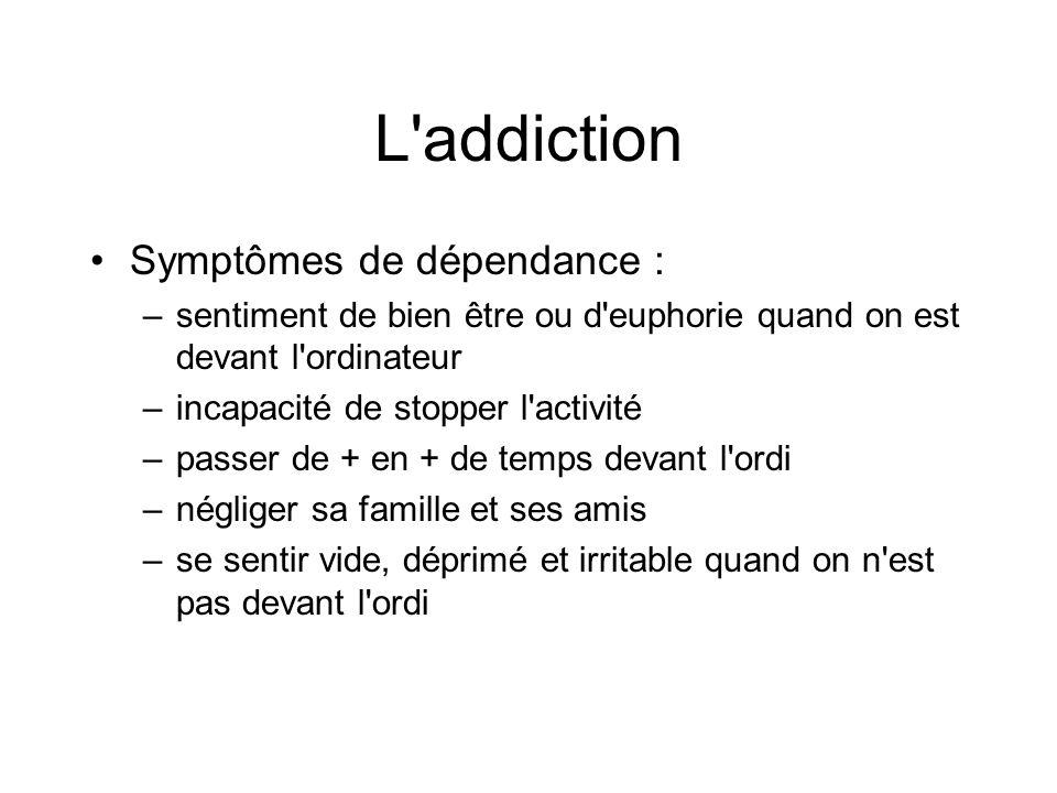 L addiction Symptômes de dépendance :