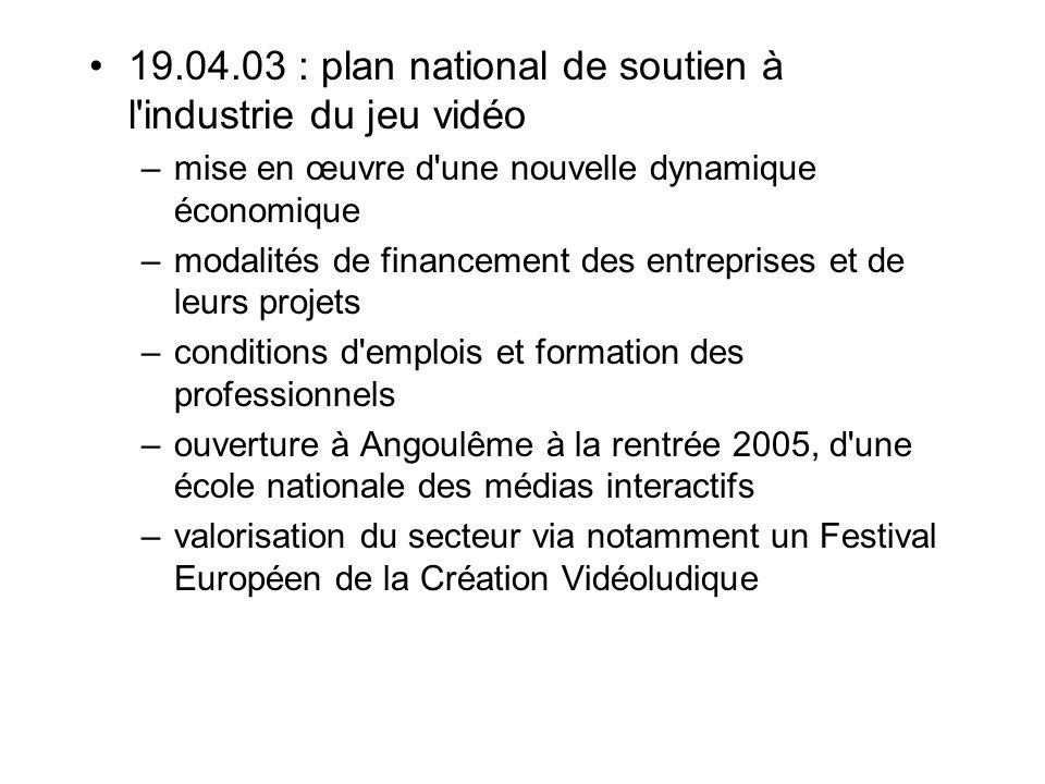 19.04.03 : plan national de soutien à l industrie du jeu vidéo