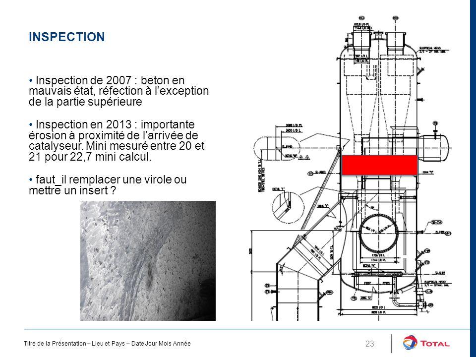 Inspection Inspection de 2007 : beton en mauvais état, réfection à l'exception de la partie supérieure.