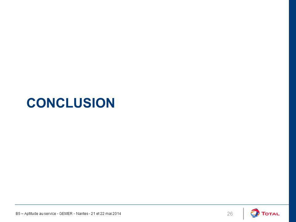 Conclusion B5 – Aptitude au service - GEMER - Nantes - 21 et 22 mai 2014