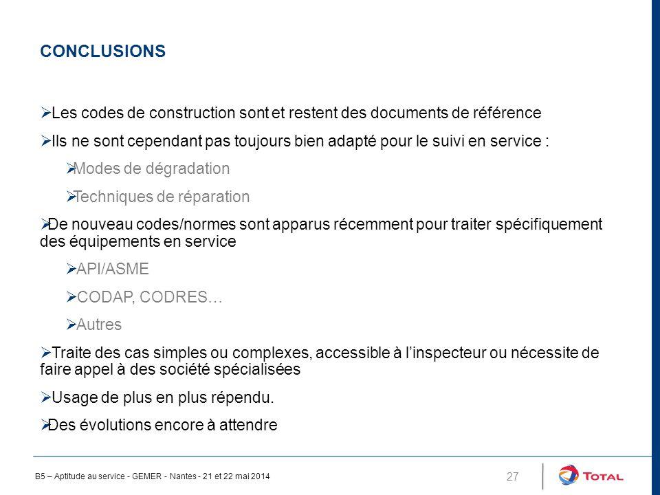 Conclusions Les codes de construction sont et restent des documents de référence.