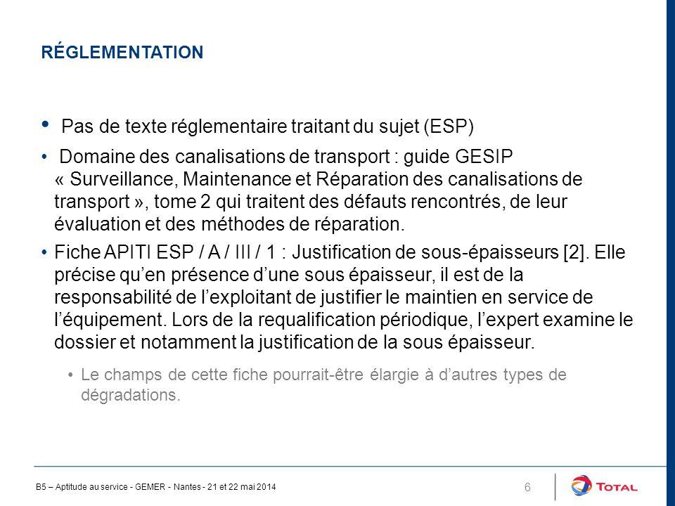 Pas de texte réglementaire traitant du sujet (ESP)