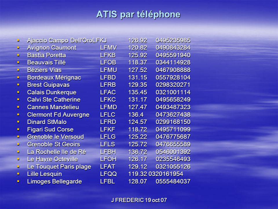 ATIS par téléphone Ajaccio Campo Dell OroLFKJ 126.92 0495235985