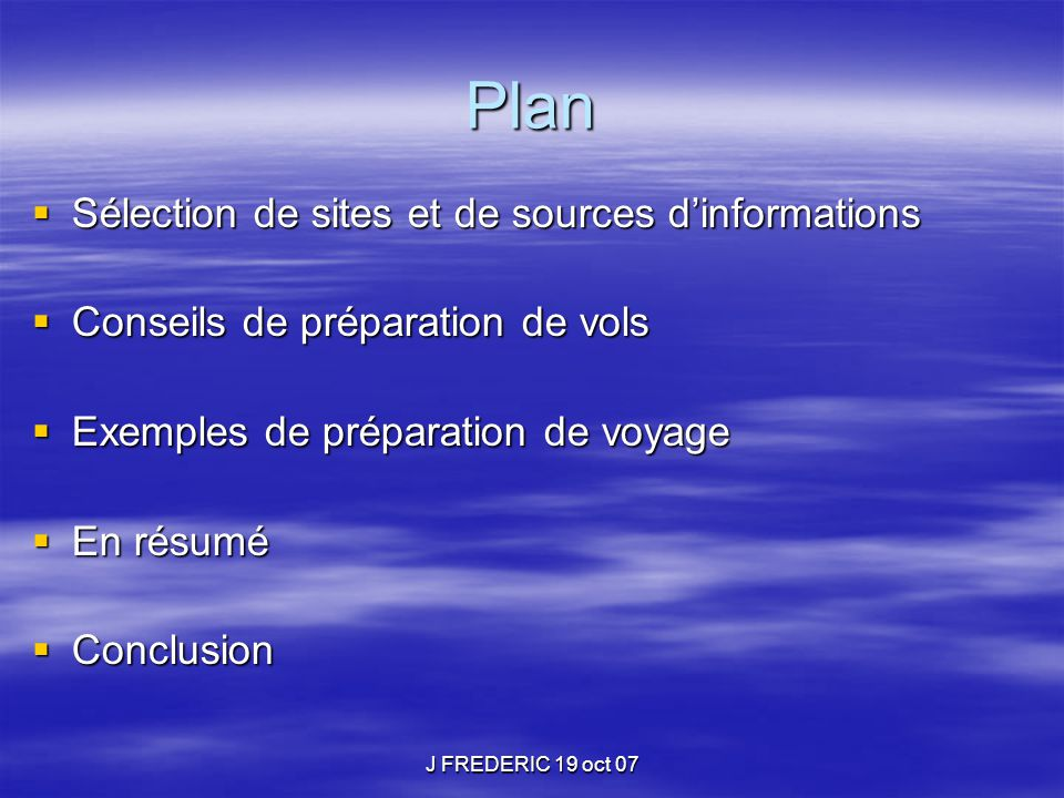 Plan Sélection de sites et de sources d'informations
