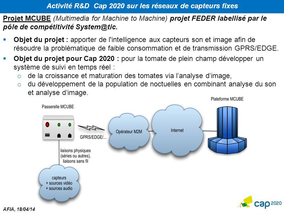 Activité R&D Cap 2020 sur les réseaux de capteurs fixes