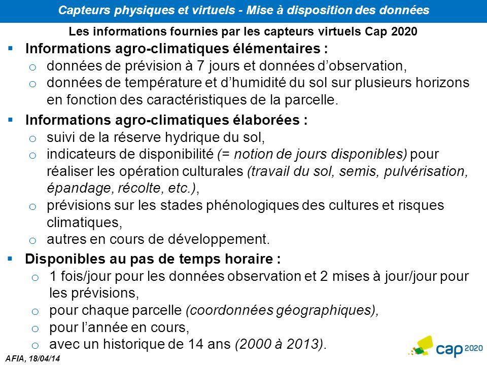 Informations agro-climatiques élémentaires :