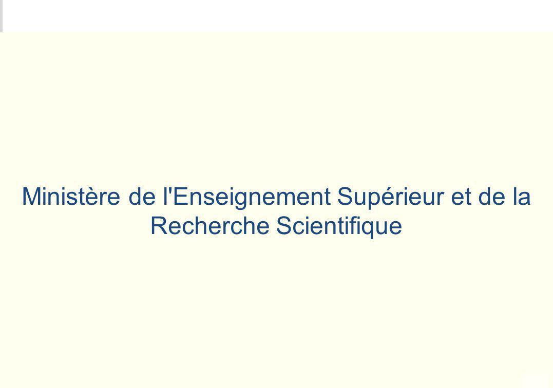 Ministère de l Enseignement Supérieur et de la Recherche Scientifique