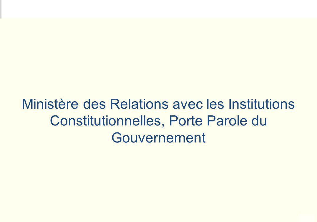 Ministère des Relations avec les Institutions Constitutionnelles, Porte Parole du Gouvernement