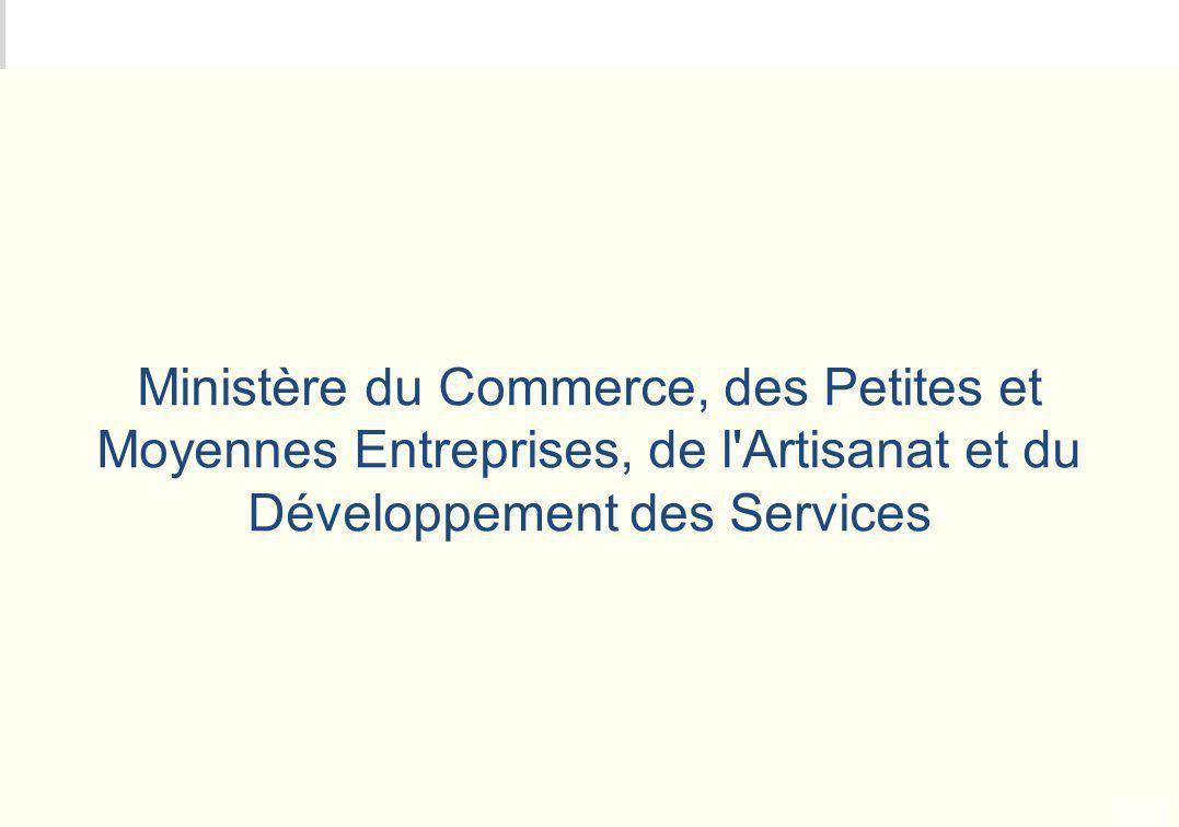 Ministère du Commerce, des Petites et Moyennes Entreprises, de l Artisanat et du Développement des Services
