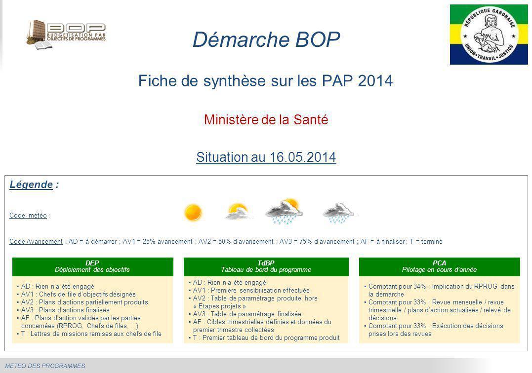 Démarche BOP Fiche de synthèse sur les PAP 2014 Ministère de la Santé