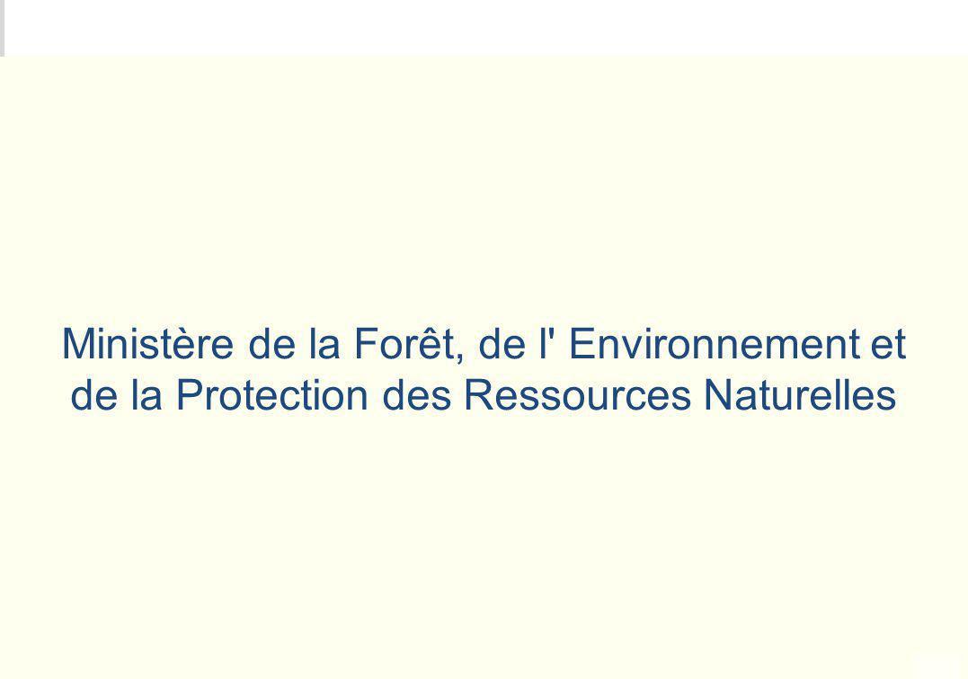 Ministère de la Forêt, de l Environnement et de la Protection des Ressources Naturelles
