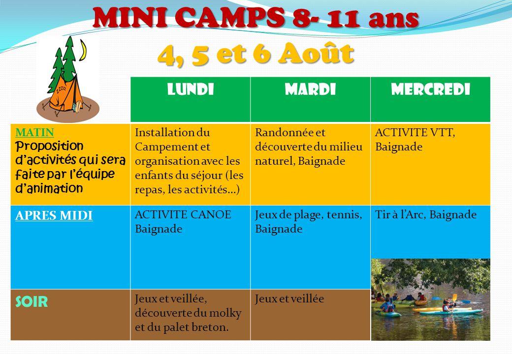 MINI CAMPS 8- 11 ans 4, 5 et 6 Août LUNDI MARDI MERCREDI SOIR