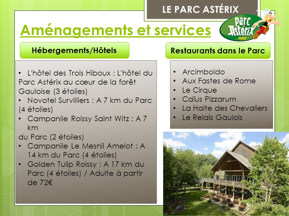 Restaurants dans le Parc