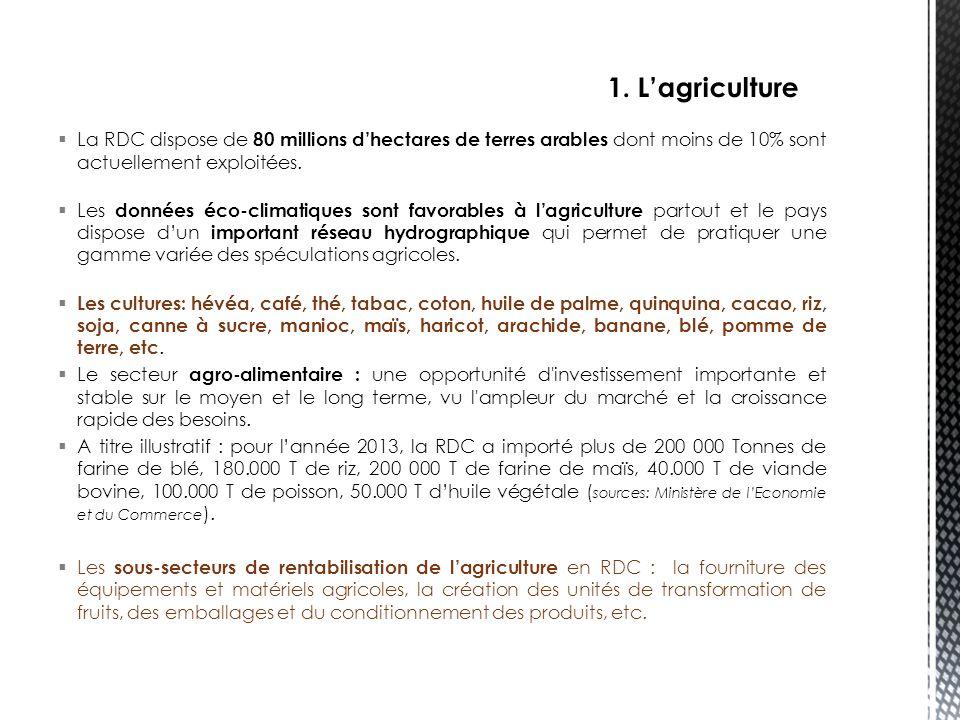 1. L'agriculture La RDC dispose de 80 millions d'hectares de terres arables dont moins de 10% sont actuellement exploitées.