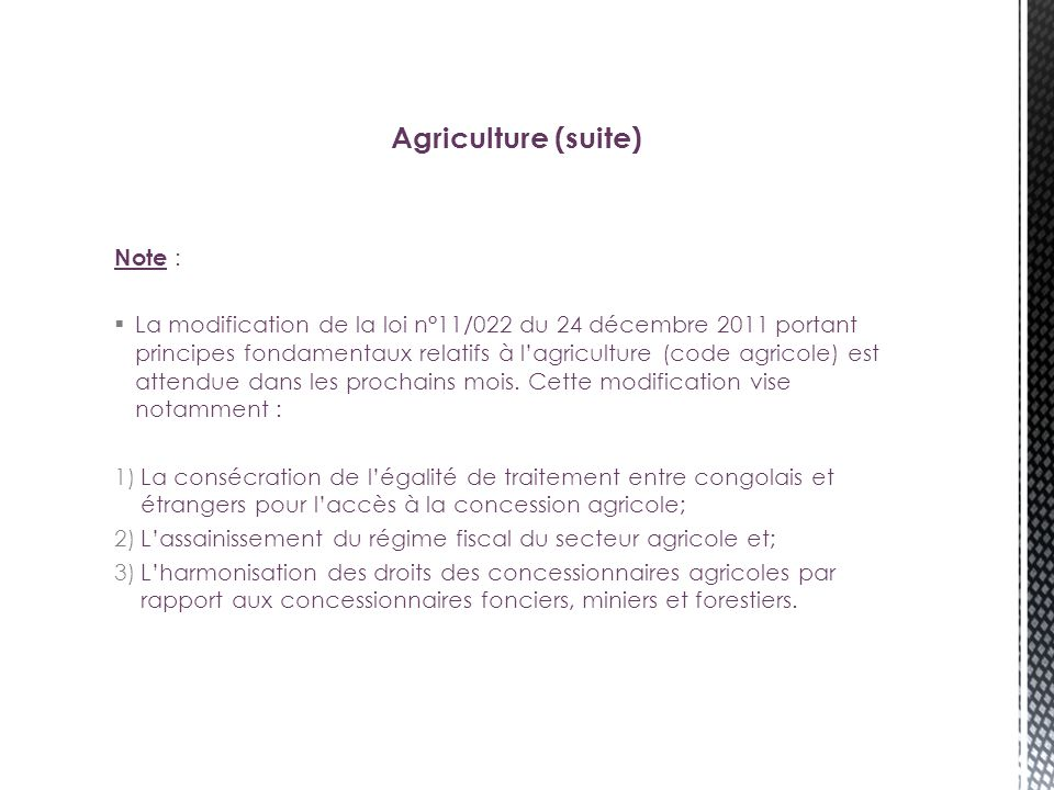 Agriculture (suite) Note :