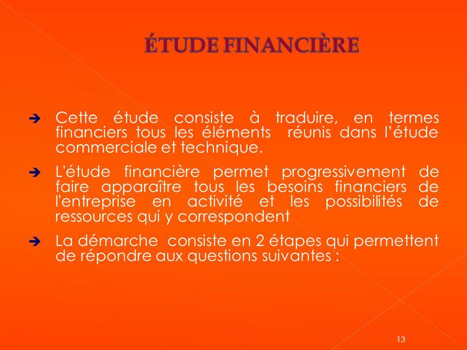 ÉTUDE FINANCIÈRE Cette étude consiste à traduire, en termes financiers tous les éléments réunis dans l'étude commerciale et technique.