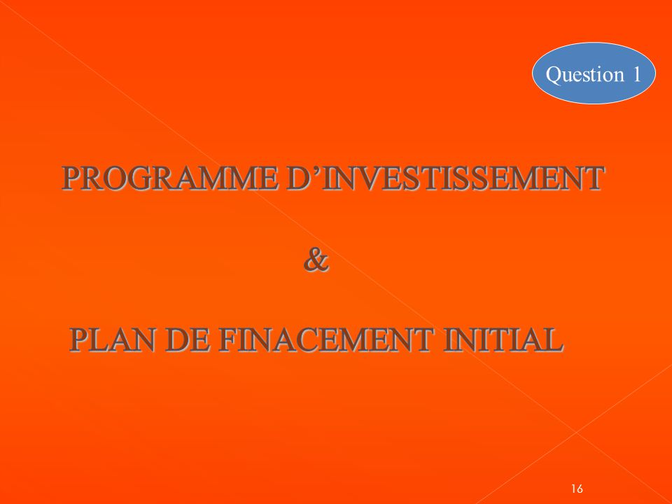 PROGRAMME D'INVESTISSEMENT & PLAN DE FINACEMENT INITIAL